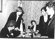 Hughie Grant (centre), Piers Gaveston dinner, Narreys Ave, Oxford, 1980© Copyright Photograph by Dafydd Jones 66 Stockwell Park Rd. London SW9 0DA Tel 020 7733 0108 www.dafjones.com