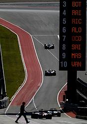 October 21, 2017 - Austin, United States of America - Motorsports: FIA Formula One World Championship 2017, Grand Prix of United States, ..#44 Lewis Hamilton (GBR, Mercedes AMG Petronas F1 Team), #31 Esteban Ocon (FRA, Sahara Force India F1 Team) (Credit Image: © Hoch Zwei via ZUMA Wire)