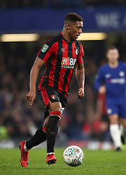 """AFC Bournemouth's Jordon Ibe during the Carabao Cup Quarter Final at Stamford Bridge, London. PRESS ASSOCIATION Photo. Picture date: Wednesday December 20, 2017. See PA story SOCCER Chelsea. Photo credit should read: John Walton/PA Wire. RESTRICTIONS: EDITORIAL USE ONLY No use with unauthorised audio, video, data, fixture lists, club/league logos or """"live"""" services. Online in-match use limited to 75 images, no video emulation. No use in betting, games or single club/league/player publications."""