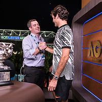 Roger Federer of Switzerland during tv interviews after the men's final on day fourteen of the 2017 Australian Open at Melbourne Park on January 29, 2017 in Melbourne, Australia.<br /> (Ben Solomon/Tennis Australia)