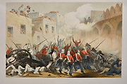 The Storming of Delhi Lithograph from the book Campaign in India 1857-58 Illustrating the military operations before Delhi ; 26 Hand coloured Lithographed plates. by George Francklin Atkinson Published by Day & Son Lithographers to the Queen in 1859