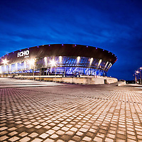 Echo Arena.  All lit up nicely at dusk. Soon to be the stage for all kinds of 08 events and gigs.