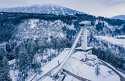 THEMENBILD - die Bergisel Schanze aus der Luft, aufgenommen am 04. Januar 2019 in Innsbruck, Österreich // Arial View of the Bergisel Hill with Stadium, Innsbruck, Austria on 2019/01/04. EXPA Pictures © 2019, PhotoCredit: EXPA/ JFK