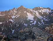 Castle Peak 14,265ft is viewed at dawn from Malumute Ridge in the Elk Mountain, Colorado.