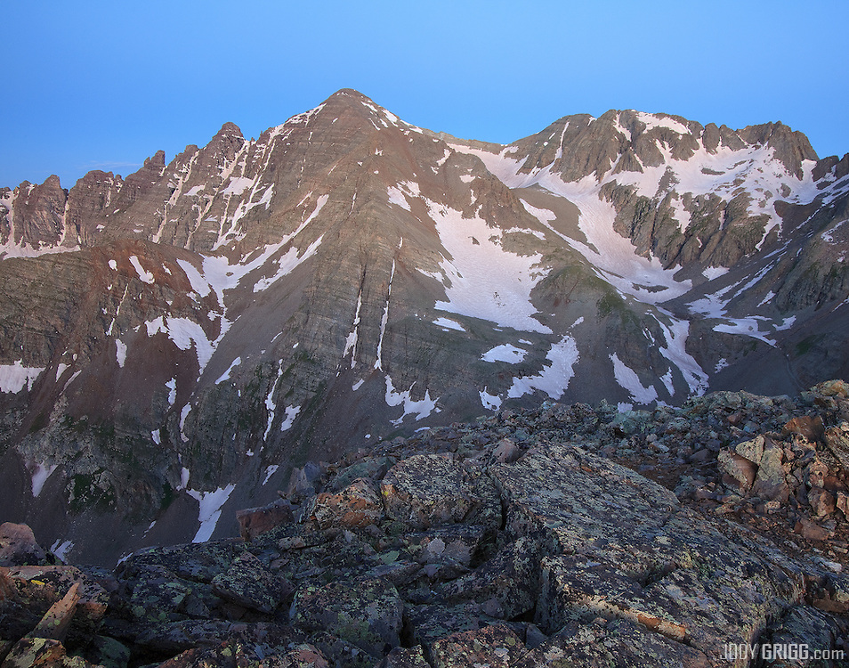 Castle Peak 14,265ft is viewed at dawn from Malumute Ridge in the Elk Mountain, Colorado.