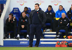 Everton caretaker manager David Unsworth during the Premier League match at the King Power Stadium, Leicester.