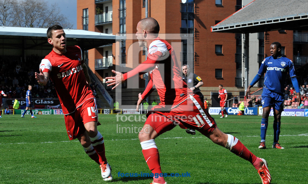Picture by Alan Stanford/Focus Images Ltd +44 7915 056117.27/04/2013.Jimmy Smith of Leyton Orient celebrates his goal with team mate Charlie MacDonald during the npower League 1 match at the Matchroom Stadium, London.. .