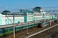 Russie, Siberie, Omsk, gare ferroviaire sur le trajet du transsiberien // Russia, Siberia, Omsk, Railway station,on the Trans-Siberian trail