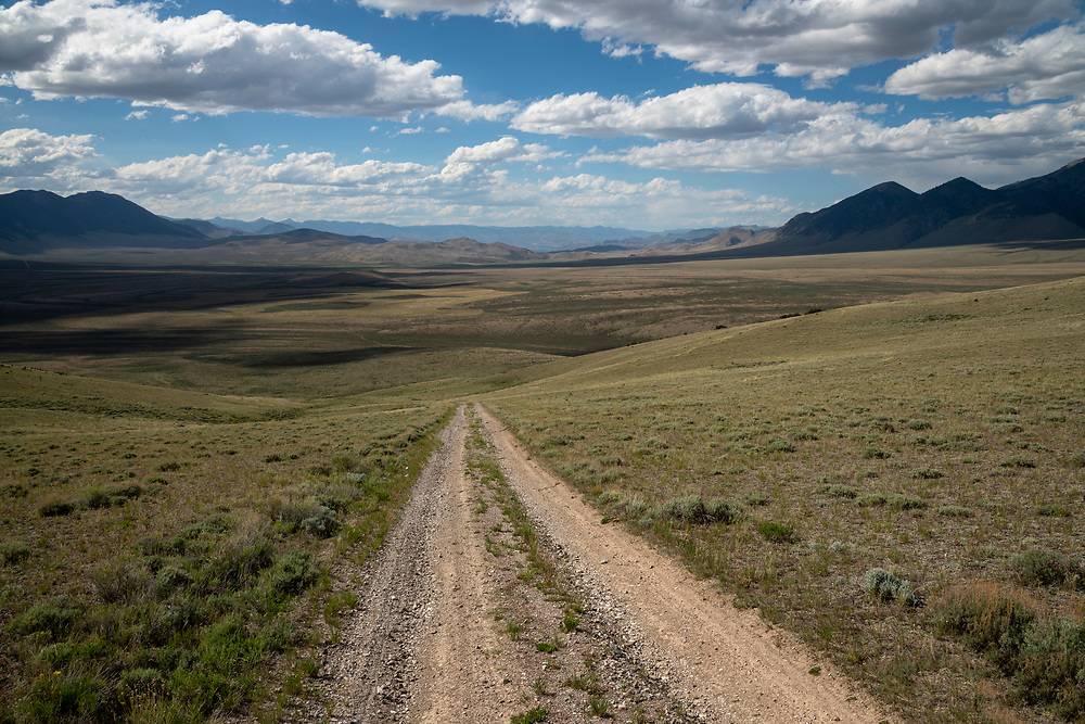 Lost River Range foothill gravel road near Challis, Idaho.  Licensing and Open Edition Prints.