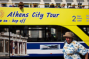 Tourists on a sightseeing bus in Omonia. Tourism is an important income for Greece and in this area it is very evident. Athens is the capital and largest city of Greece. It dominates the Attica periphery and is one of the world's oldest cities, as its recorded history spans around 3,400 years. Classical Athens was a powerful city-state. A centre for the arts, learning and philosophy.