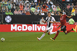July 25, 2018 - Philadelphia, PA, U.S. - PHILADELPHIA, PA - JULY 25: Juventus forward Andrea Favilli (42) and Bayern Munich defender Javi Martinez (8) contest the ball during a International Champions Cup match between Juventus and FC Bayern Munich on July 25,2018, at Lincoln Financial Field in Philadelphia,PA. Juventus won 2-0. (Photo by Andy Lewis/Icon Sportswire) (Credit Image: © Andy Lewis/Icon SMI via ZUMA Press)