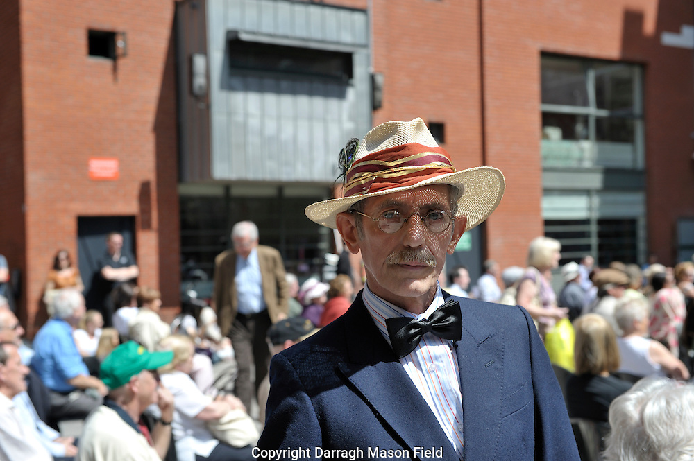 James Joyce lookalike at meeting house square in Dublin on Bloomsday