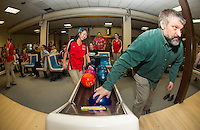 """Lily Chanthasak and Mr. Hubbard take to the lanes at Funspot Thursday afternoon as the LHS Bowlers take on LHS Faculty battle for """"bragging rights"""" in a Baker Format fundraiser to benefit the LHS bowling program.   (Karen Bobotas/for the Laconia Daily Sun)"""