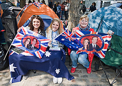 © licensed to London News Pictures.  28/05/2011. London, UK.  Today (28/05/2011) The day before the Royal Wedding fans gather outside Westminster Abbey to celebrate the monumental occasion. Photo  credit should read LNP.
