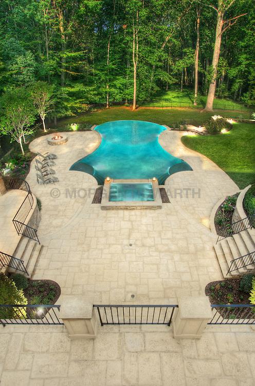 8541 Horseshoe Ln Potomac, MD Lewis Aquatech Pool swimming pool Swimming pool Deck patio Verandah Porch Pool pool house