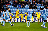 Wimbledon forward Jake Jervis (10), on loan from Luton Town, scores a goal and celebrates to make the score 0-1 during the EFL Sky Bet League 1 match between Coventry City and AFC Wimbledon at the Ricoh Arena, Coventry, England on 12 January 2019.