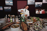 Inside one of the chalets at the Paris Air Show, at Le Bourget Airport, France. Held every other year, the event is one of the world's biggest international trade fairs for the aerospace business. Potential customers are wined and dined.