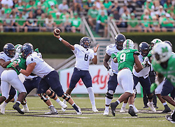 Oct 9, 2021; Huntington, West Virginia, USA; Old Dominion Monarchs quarterback D.J. Mack Jr. (8) throws a pass during the first quarter against the Marshall Thundering Herd at Joan C. Edwards Stadium. Mandatory Credit: Ben Queen-USA TODAY Sports