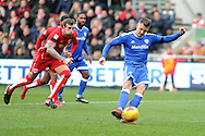 Cardiff City's Anthony Pilkington scores a goal from the penalty spot. EFL Skybet championship match, Bristol City v Cardiff City at the Ashton Gate Stadium  in Bristol, Avon on Saturday 14th January 2017.<br /> pic by Carl Robertson, Andrew Orchard sports photography.