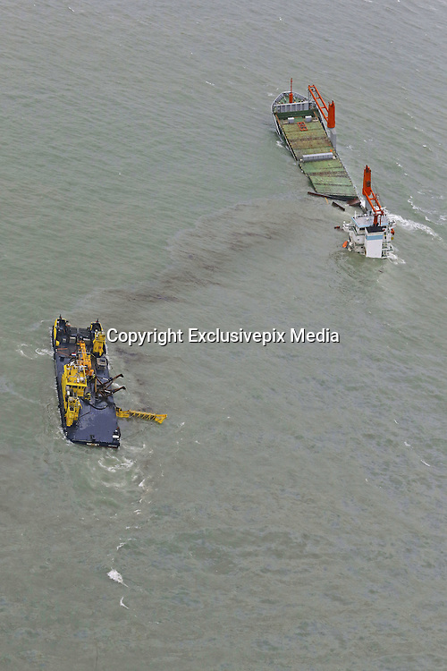 Oct. 7, 2015 - Zeebrugge, BELGIUM - 20151007 - ZEEBRUGGE, BELGIUM: <br /> <br /> Illustration picture shows the North Sea some 8km off the coast of Zeebrugge where early yesterday morning gas tanker Al-Oraiq and Dutch cargo ship Flinterstar collided, Wednesday 07 October 2015. The freighter sank, all 12 sailors could be rescued. There were no hazardous materials aboard the sunken ship but oil leaked into the sea<br /> ©Exclusivepix Media