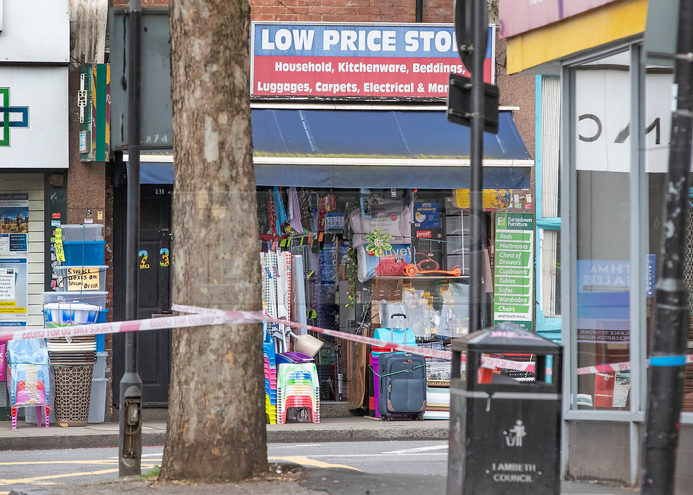 © Licensed to London News Pictures. 03/02/2020. London, UK. The Low Price Store on Streatham High Road the day after a terrorist stabbed two people before being shot dead by police. Sudesh Amman, who was released from prison recently for terror offences, was under active police surveillance at the time of the attack - which police think was an Islamist-related terrorist incident. Photo credit: Peter Macdiarmid/LNP