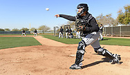 GLENDALE, ARIZONA - FEBRUARY 20:  Catcher Alfredo Gonzalez #89 of the Chicago White Sox throws the ball during spring training drills on February 20, 2019 at Camelback Ranch in Glendale Arizona.  (Photo by Ron Vesely). Subject:   Alfredo Gonzalez