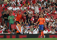 Photo: Lee Earle.<br /> Inter Milan v Valencia. The Emirates Cup. 28/07/2007.Valencia's Jaime Gavilan celebrates after scoring the opening goal.