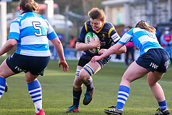 Philippa Rawbone of Worcester Warriors Women is tackled by Chloe Broom of DMP Durham Sharks - Mandatory by-line: Nick Browning/JMP - 09/01/2021 - RUGBY - Sixways Stadium - Worcester, England - Worcester Warriors Women v DMP Durham Sharks - Allianz Premier 15s