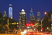 A Philadelphia Skyline  Comcast Center (l)  , BNY Mellon Center, Bell Atlantic Tower, Night, Market Street
