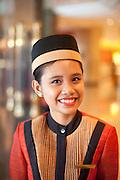 Door greeter at the five star hotel Shangra La, in Manila, Philippines