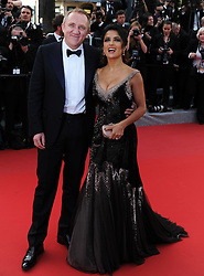 Mexican actress Salma Hayek poses with her husband French businessman Francois-Henri Pinault  at the premiere of Madagascar 3 Europe's Most Wanted at the Cannes Film Festival, Friday, May 18th  2012. Photo by: Ki Price  / i-Images