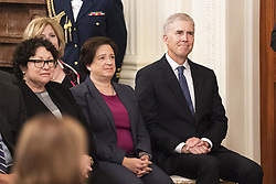 October 8, 2018 - Washington, DC, U.S - Supreme Court Justices SONIA SOTOMAYOR, ELANA KAGAN, and NEIL GORSUCH at the swearing in of Brett Kavanaugh as an Associate Justice of the Supreme Court in the East Room of the White House in Washington, DC  on September 8, 2018. (Credit Image: © Michael Brochstein/ZUMA Wire)