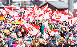 02.03.2019, Seefeld, AUT, FIS Weltmeisterschaften Ski Nordisch, Seefeld 2019, Skisprung, Mixed Team Bewerb im Bild Stiegl Fahnen, Österreich Flaggen // Austrian Fans with Flags during the mixed team competition of nordic combination of FIS Nordic Ski World Championships 2019. Seefeld, Austria on 2019/03/02. EXPA Pictures © 2019, PhotoCredit: EXPA/ JFK