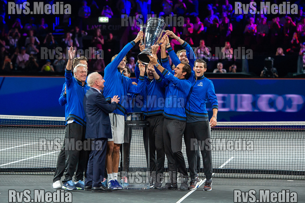 GENEVA, SWITZERLAND - SEPTEMBER 22: Roger Federer with the Team Europe celebrates with the trophy after winning against Team World during Day 3 of the Laver Cup 2019 at Palexpo on September 20, 2019 in Geneva, Switzerland. The Laver Cup will see six players from the rest of the World competing against their counterparts from Europe. Team World is captained by John McEnroe and Team Europe is captained by Bjorn Borg. The tournament runs from September 20-22. (Photo by Robert Hradil/RvS.Media)