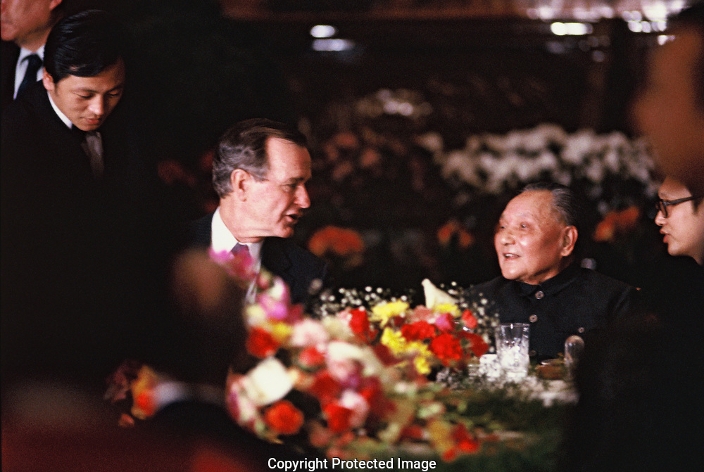 President HW Bush with Deng Xiaopin,supreme leader of China<br />Photo by Dennis Brack. bb77
