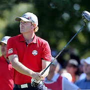 Ryder Cup 2016. Day One. Brandt Snedeker of the United States  tees off on the sixth in the Friday afternoon four-ball competition during the Ryder Cup at  Hazeltine National Golf Club on September 30, 2016 in Chaska, Minnesota.  (Photo by Tim Clayton/Corbis via Getty Images)