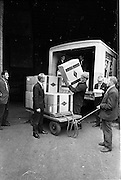 01/08/1962<br /> 08/01/1962<br /> 01 August 1962 <br /> Loading Sunbeam Jerseywear  onto ship at B and I North Wall, Dublin.<br /> Image shows boxes being unloaded from a truck prior to being loaded on the ship at the quay.