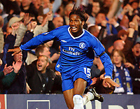 Fotball<br /> Champions League 2004/05<br /> Chelsea v Bayern München<br /> 6. april 2005<br /> Foto: Digitalsport<br /> NORWAY ONLY<br /> Chelsea's Didier Drogba wheels away to celebrate after scoring the fourth goal