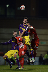 Notts County's Enda Stevens and Leyton Orient's Scott Cuthbert competes for the ball  - Photo mandatory by-line: Mitchell Gunn/JMP - Tel: Mobile: 07966 386802 17/09/2013 - SPORT - FOOTBALL -  Matchroom Stadium - London - Leyton Orient v Notts County - Sky Bet League One