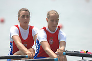 Beijing, CHINA, SRB, JW2X, bow, Jelana ZELENOVIC and Ivana FILIPOVIC, during the  2007. FISA Junior World Rowing Championships Shunyi Water Sports Complex. Wed. 08.08.2007  [Photo, Peter Spurrier/Intersport-images]..... , Rowing Course, Shun Yi Water Complex, Beijing, CHINA,