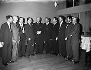 17/05/1962<br /> 05/17/1962<br /> 17 May 1962<br /> St. Brendan's College P.P.U. social function at the Grand Hotel, Malahide, Dublin. Pictured at the Past Pupils Union gathering were members of the committee with Bishop J.B. Houlihan, Bishop of Eldoret, Kenya, a past pupil. Included are (l-r): Mr T.P. O'Connor, (Secretary); Mr P. Finucane; Mr T. O'Sullivan; Mr H. (T?) O'Brien; Mr T. Woulfe, Vice-Chairman; Mr J. Horgan; Mr T. Moncarty; Mr J. Teahan and Mr J. O'Connor.
