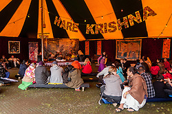 © Licensed to London News Pictures. 05/09/2015. Watford, UK. Hare Krishna devotees perform at the biggest Janmashtami festival outside of India at the Bhaktivedanta Manor Hare Krishna Temple in Watford, Hertfordshire.  The event celebrates the birth of Lord Krishna and the festival  includes music, dance, food, dramas and more. Photo credit : Stephen Chung/LNP