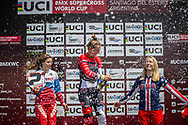 Women Elite Podium: 2nd, #116 (AFREMOVA Natalia) RUS; 1st #110 (SMULDERS Laura) NED; 3rd #6 (STANCIL Felicia) USA at Round 10 of the 2019 UCI BMX Supercross World Cup in Santiago del Estero, Argentina