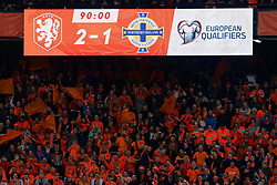 10-10-2019 NED: Netherlands - Northern Ireland, Rotterdam<br /> UEFA Qualifying round Group C match between Netherlands and Northern Ireland at De Kuip in Rotterdam / Scoreboard, 2-1