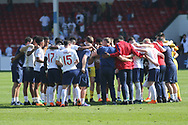 England squad in a post match huddle during the UEFA European Under 17 Championship 2018 match between England and Italy at the Banks's Stadium, Walsall, England on 7 May 2018. Picture by Mick Haynes.