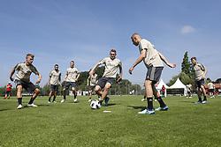 Zakaria Labyad of Ajax, Carel Eiting of Ajax, Donny van de Beek of Ajax, Perr Schuurs of Ajax, Noa Lang of Ajax, Perr Schuurs of Ajax, Dani de Wit of Ajax during a trainings session of Ajax Amsterdam in Marienfeld on June 27, 2018 in Marienfeld, Germany