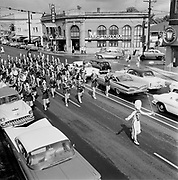Y-590609-03.  Weiser Idaho band parade in Hollywood district on NE Sandy (Hollywood Music, old bank building, NE Sandy & 41st). June 9, 1959