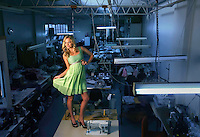 Model Ally Parry in an Amar dress in the factory where the dress was made  .Pic By Craig Sillitoe SPECIALX 000 This photograph can be used for non commercial uses with attribution. Credit: Craig Sillitoe Photography / http://www.csillitoe.com<br /> <br /> It is protected under the Creative Commons Attribution-NonCommercial-ShareAlike 4.0 International License. To view a copy of this license, visit http://creativecommons.org/licenses/by-nc-sa/4.0/.