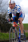 United Kingdom, Finchingfield, Mar 27, 2010:  Geoff Bores, Ford CC, approaches the 4 miles to go marker during the 2010 edition of the 'Jim Perrin' Memorial Hardriders 25.5 mile Sporting TT promoted by Chelmer Cycling Club. Copyright 2010 Peter Horrell.