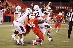 02 September 2017:   James Graham gets to QB Will Marty and makes him throw the ball away during the Butler Bulldogs at  Illinois State Redbirds Football game at Hancock Stadium in Normal IL (Photo by Alan Look)
